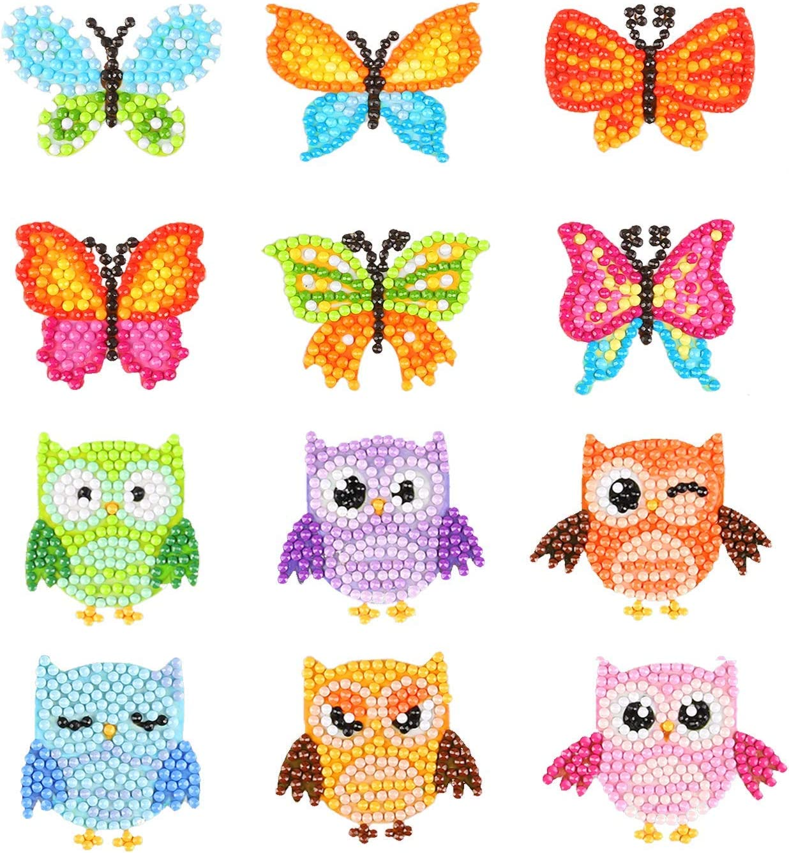 5d Pintura Por Diamantes 12 figuras búhos y mariposas