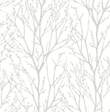 NuWallpaper NU2394 Treetops Peel & Stick Wallpaper White & Off-White