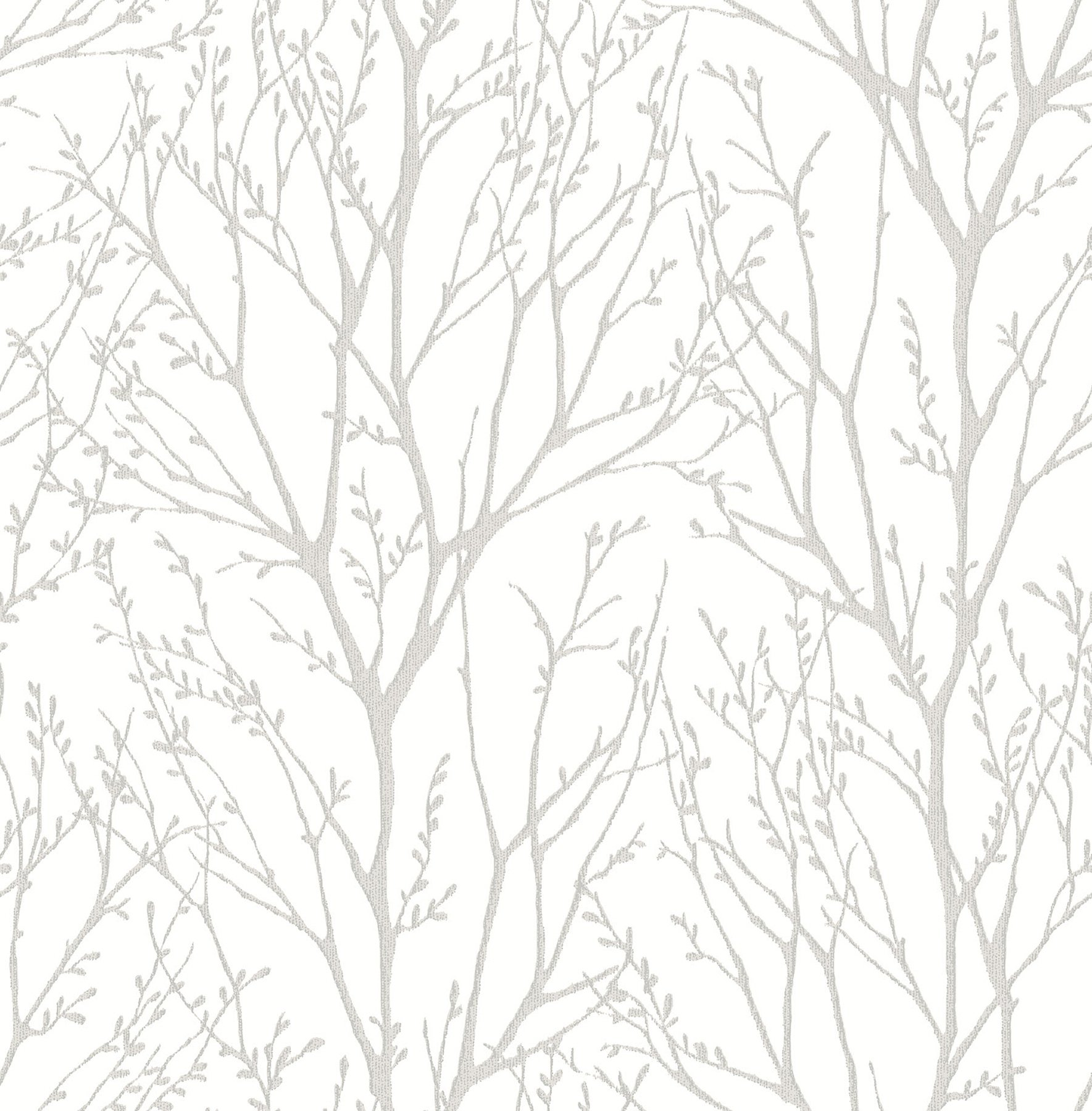 NuWallpaper NU2394 Treetops Peel & Stick Wallpaper, White & Off-White by NuWallpaper