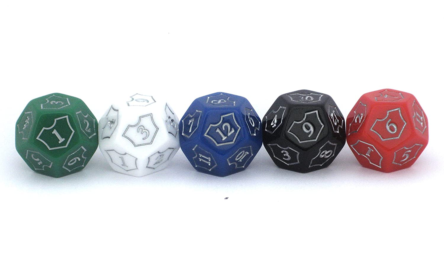 Red White Black Green Blue Magic MTG D12 Spin-Down Loyalty Counter Dice 5 Die Set by Hedral The Gathering TCG CCG Planeswalker Multi-Color