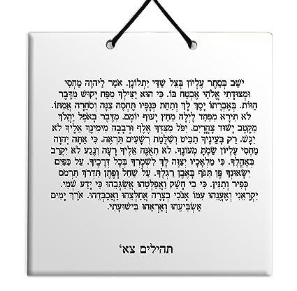 Amazon com: Hebrew Book of Psalms Ceramic Plaque TILE Home