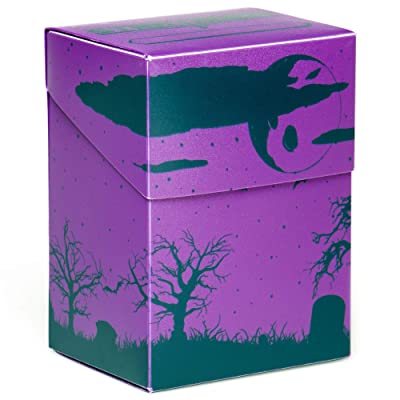 Stratagem The Big Box Card Deck Box with Divider, Fright Night - Oversized Deck Box for 60-Card Deck Plus More - Card Deck Boxes for Magic The Gathering, Pokemon, Yugioh! & Sleeved or Unsleeved Cards: Sports & Outdoors