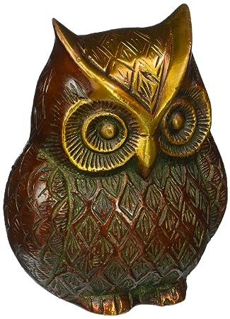 Indian Antique Brass Handmade Figurine Home Décor Owl Statue