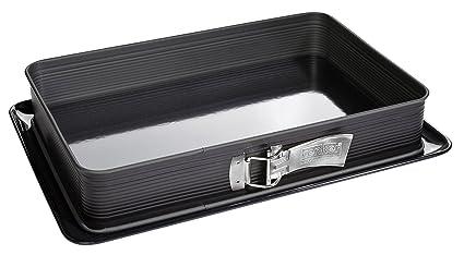 Zenker Molde Desmontable Rectangular Deluxe, Bandeja Premium con Fondo esmaltado y protección antigoteo, aro con Recubrimiento Antiadherente (Color: ...