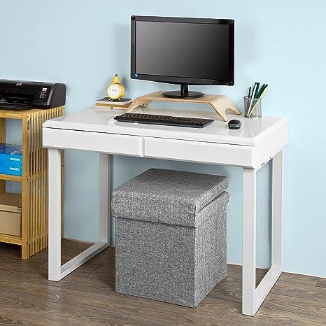 SoBuy Mesa de Escritorio, Mesa de Ordenador con Dos Cajones,Color ...