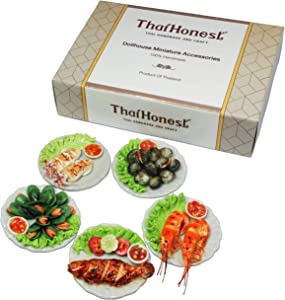 ThaiHonest Mixed 5 Assorted Seafood Dollhouse Miniature Food,Tiny Food