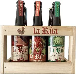 Cesta de Madera Cervezas La Rúa. Cerveza artesana para regalo (6 botellines 33 cl): Amazon.es: Alimentación y bebidas