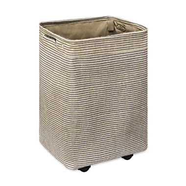Chrislley Rolling Laundry Hamper with Handles Large Tall Dirty Laundry Basket Square laundry hamper sorter with Stand (Brown)