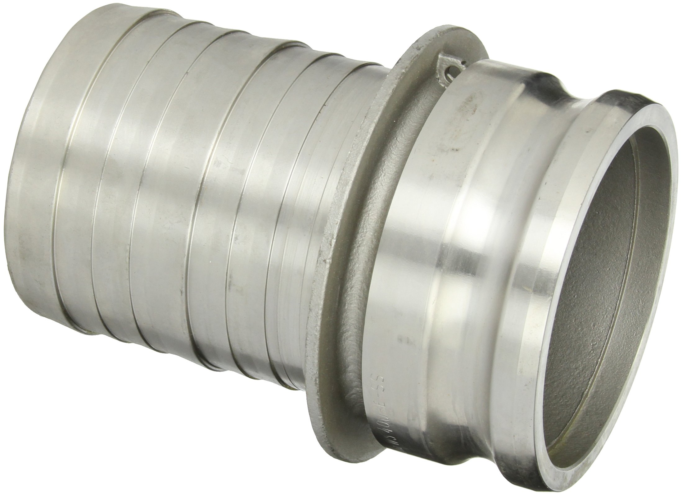 Dixon 400-E-SS Stainless Steel 316 Boss-Lock Type E Cam and Groove Hose Fitting, 4'' Plug x 4'' Hose ID Barbed