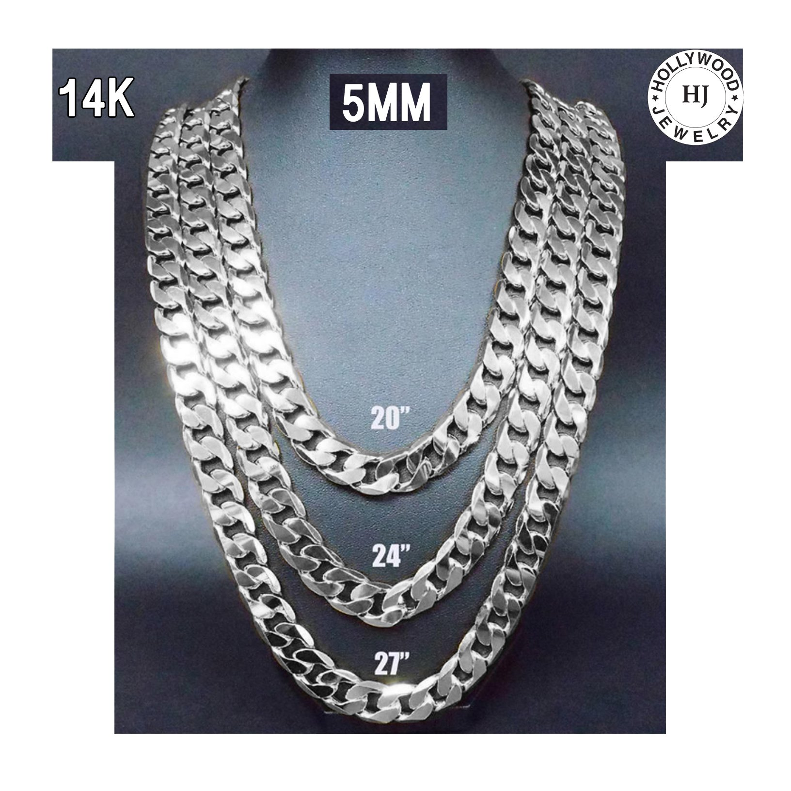 Hollywood Jewelry Gold chain necklace 5mm 14K White Gold Diamond cut Smooth Cuban Link with a Warranty USA made! (22)
