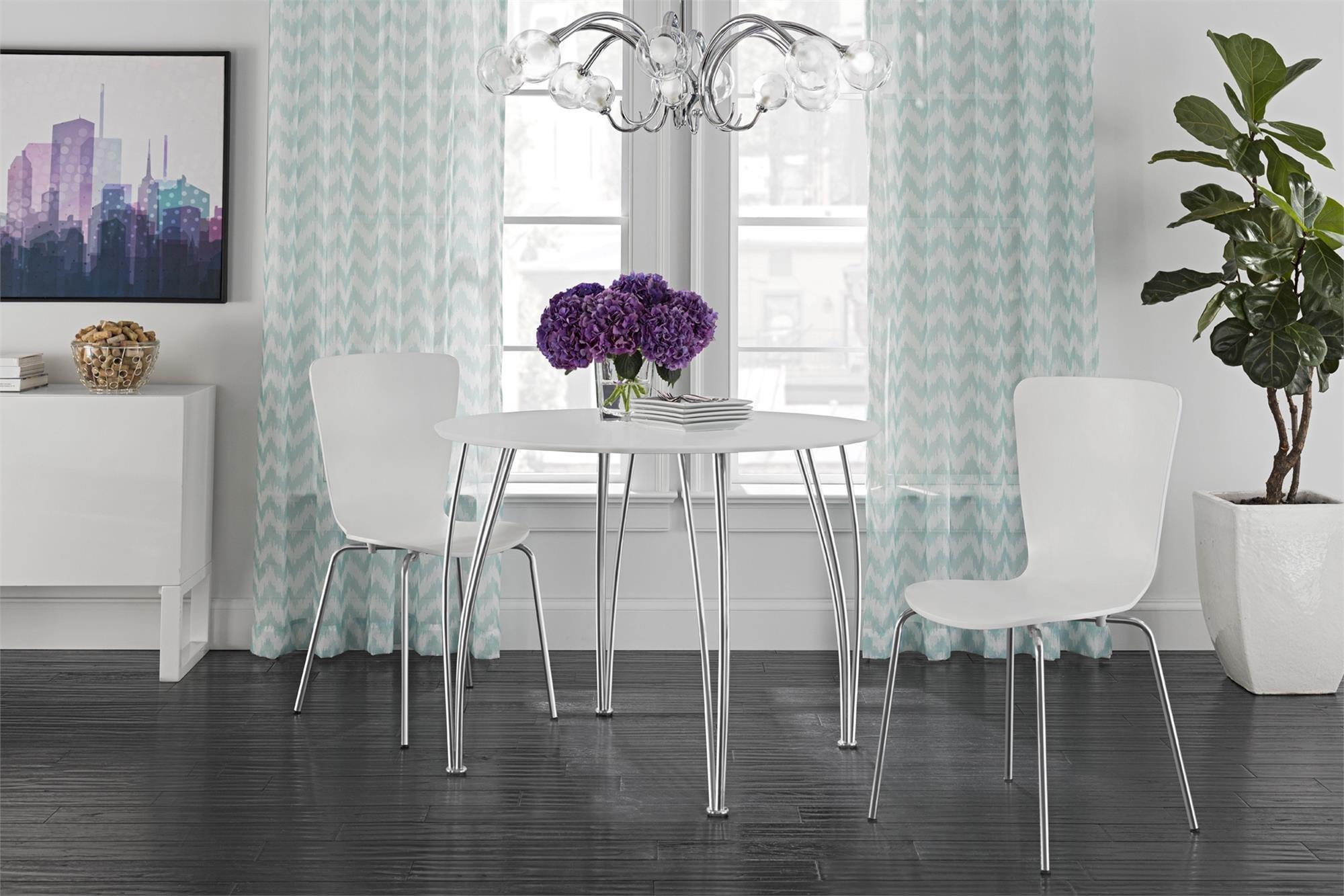 Novogratz Round Dining Table with Chrome Plated Legs, White by Novogratz