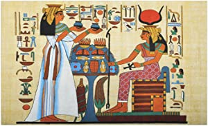 Ambesonne Retro Doormat, Papyrus Design with Elements of Ancient Egyptian History Illustration Pattern, Decorative Polyester Floor Mat with Non-Skid Backing, 30