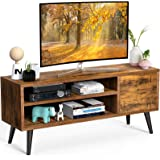 TV Console Table with Storage for TV up to 55 in, Retro TV Stand for Media Cable Box Gaming Consoles, Mid Century Modern TV S