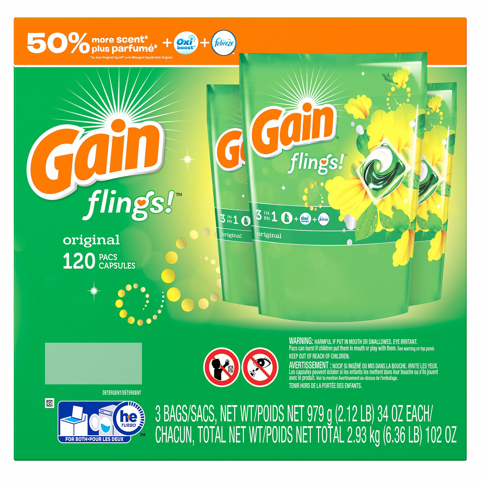 Gain Flings Laundry Detergent Pacs, Original Scent, 120 ct. (pack of 6)