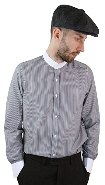 cce3b742f3b Mens Retro Peaky Blinders Removable Collar Stripe Grandad Nehru Collarless  Shirt - Black