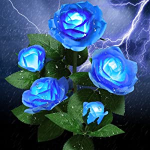Solar Garden Lights Outdoor - Upgraded Realistic LED Solar Powered Rose Lights Flower Stake, Waterproof Solar Decorative Lights for Patio Pathway Courtyard Garden Lawn (Blue)