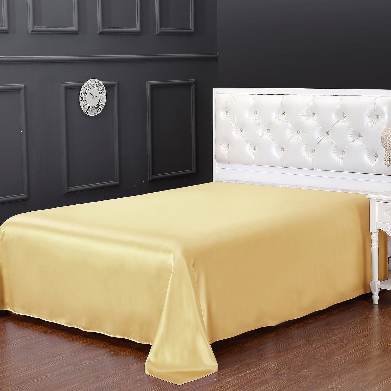 LilySilk Mulberry Silk Flat Sheet 19 Momme Pure Silk Top sheet Gold Queen