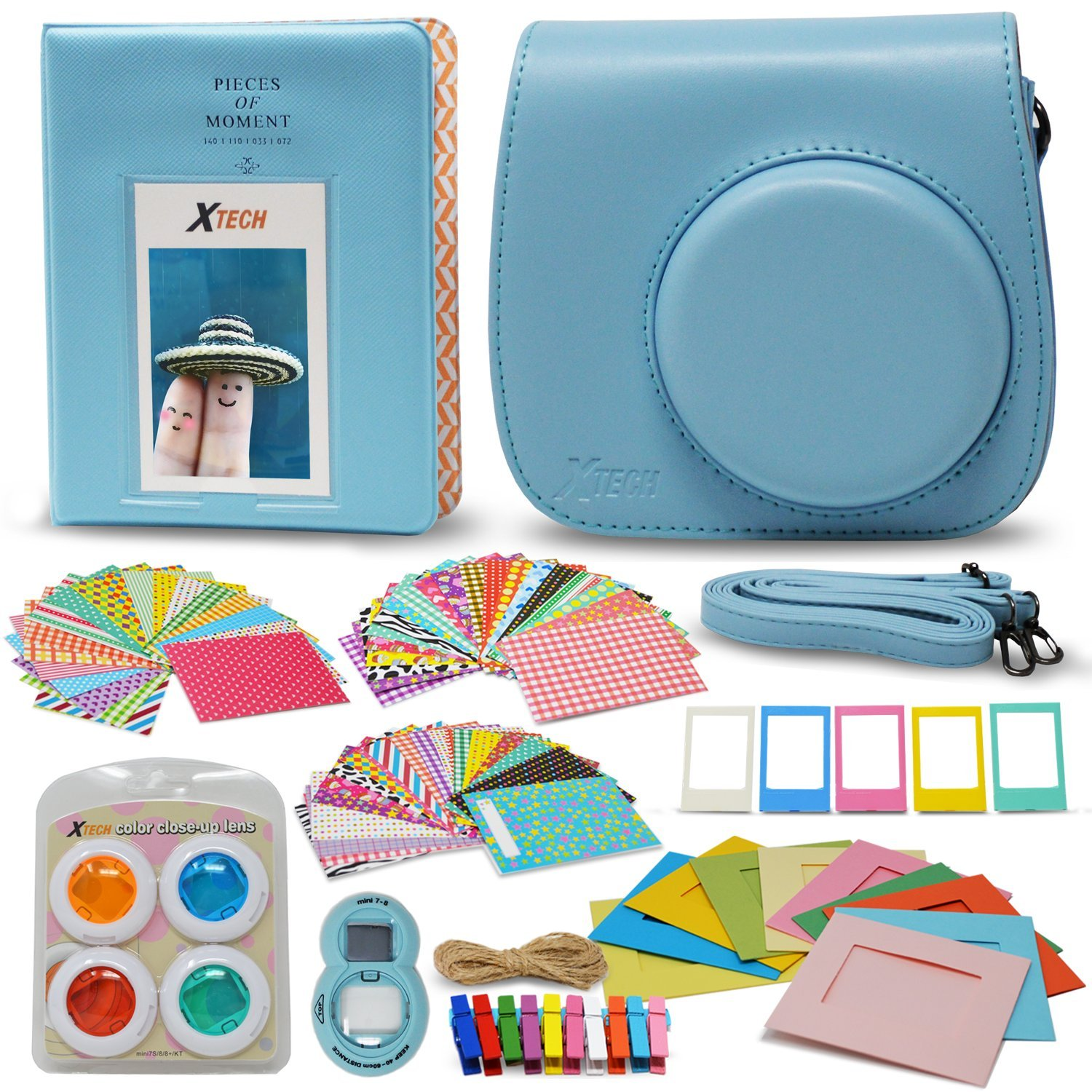 Xtech FujiFilm Instax Mini 9/8 BLUE Accessories Kit with Blue Camera Case with Strap + Photo Album + Colorful Frames + Sticker Frames + Large Selfie Mirror + 4 Colorful Filters + String + MORE