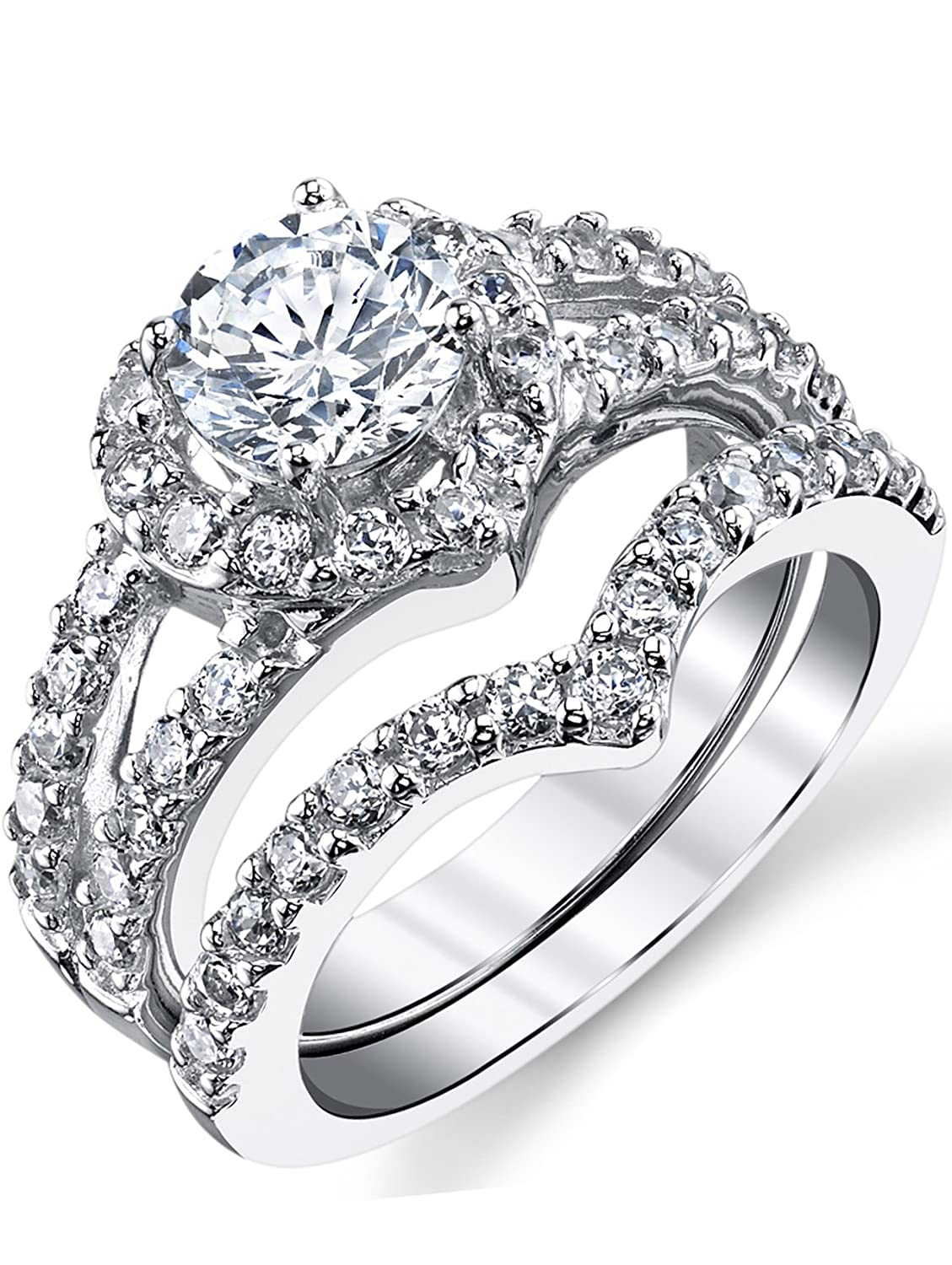 Amazon Round Brilliant Cut Heart Shaped Sterling Silver 2pc Bridal Set Engagement Wedding Ring Bands Wcubic Zirconia Jewelry: 2 Pc Wedding Ring Sets At Reisefeber.org