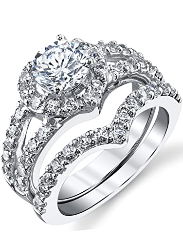 Ultimate Metals Co. 1.25 Carat Round Brilliant Cubic Zirconia CZ Sterling Silver 925 Wedding Engagement Ring Size 5 to 10 QyB7YWW