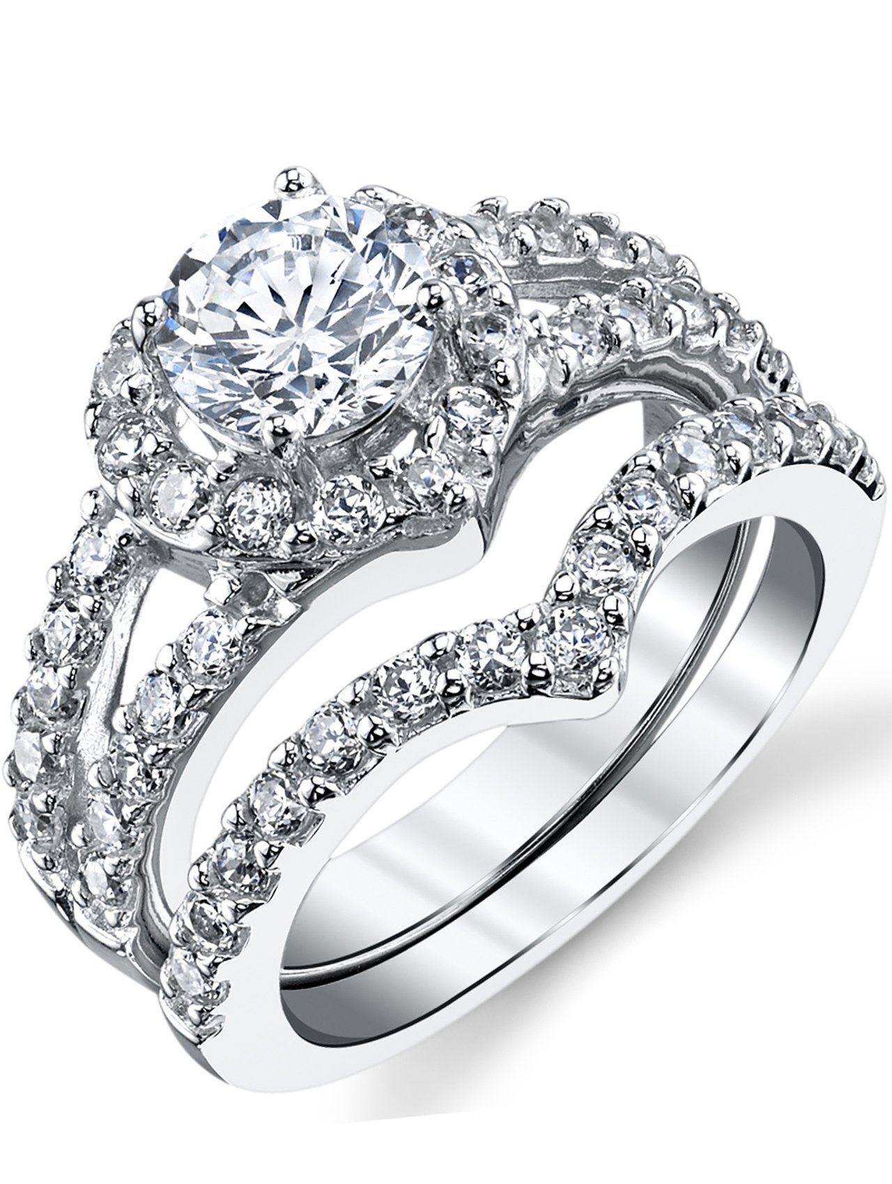 Round Brilliant Cut Heart Shaped Sterling Silver 2-Pc Bridal Set Engagement Wedding Ring Bands W/Cubic Zirconia