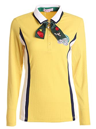 Amazon.com  SunviewGolf Women s New Long Sleeve T-Shirt Bow Tie Golf Sport Knitted  Polo Tops  Clothing ff3f76267355