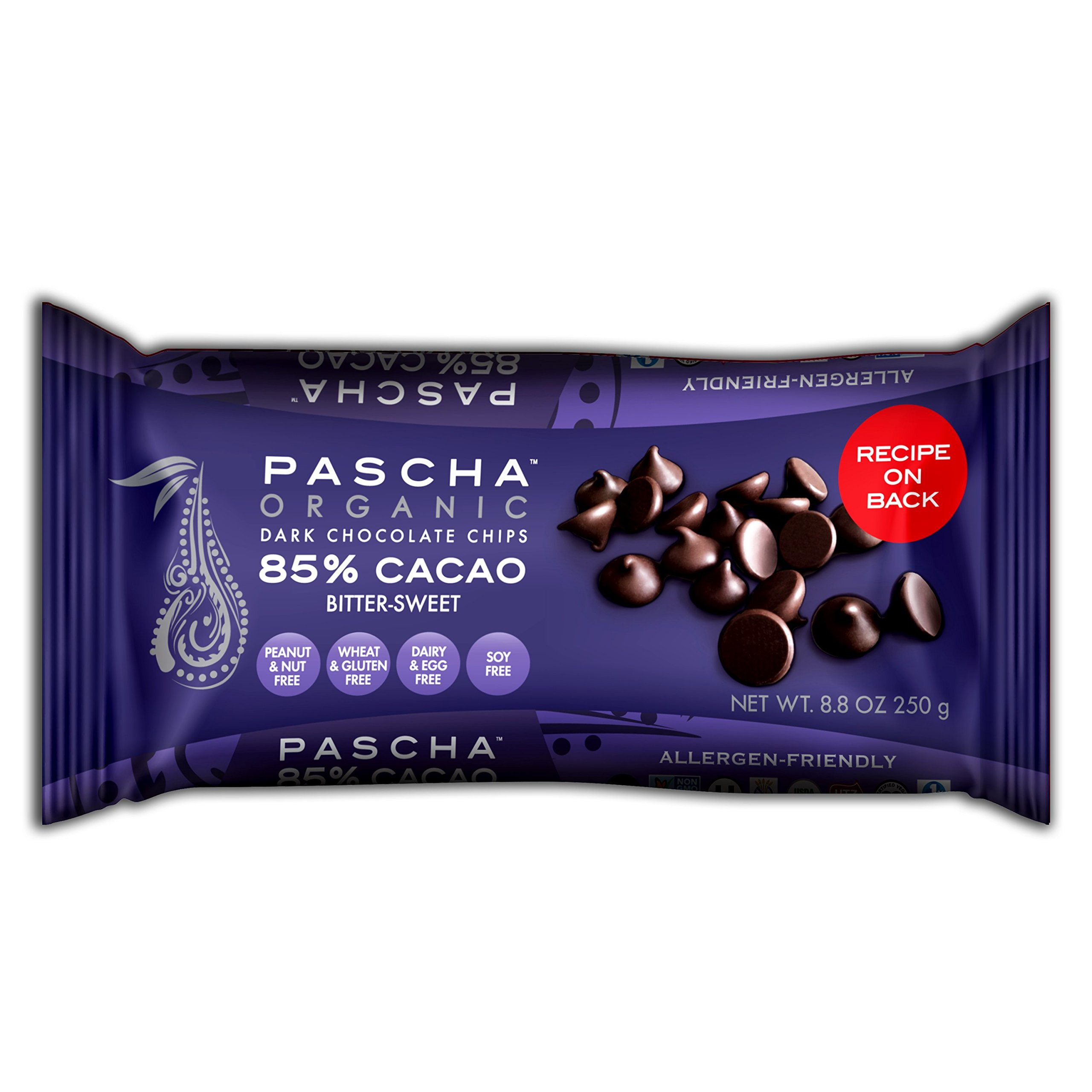 Pascha Organic Bitter-Sweet Chocolate Baking Chips 85% Cacao, 8.8 Ounce (Pack of 6) by Pascha