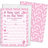 Pink Girl Baby Shower Invitations with Envelopes, 25 Count