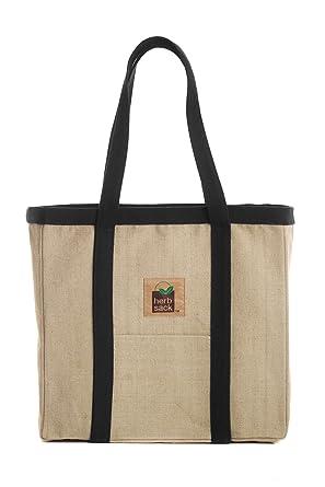 ae5336539564 Herbsack Linda Organic Hemp Canvas Tote Bag Black Trim Heavy Duty Extra  Large
