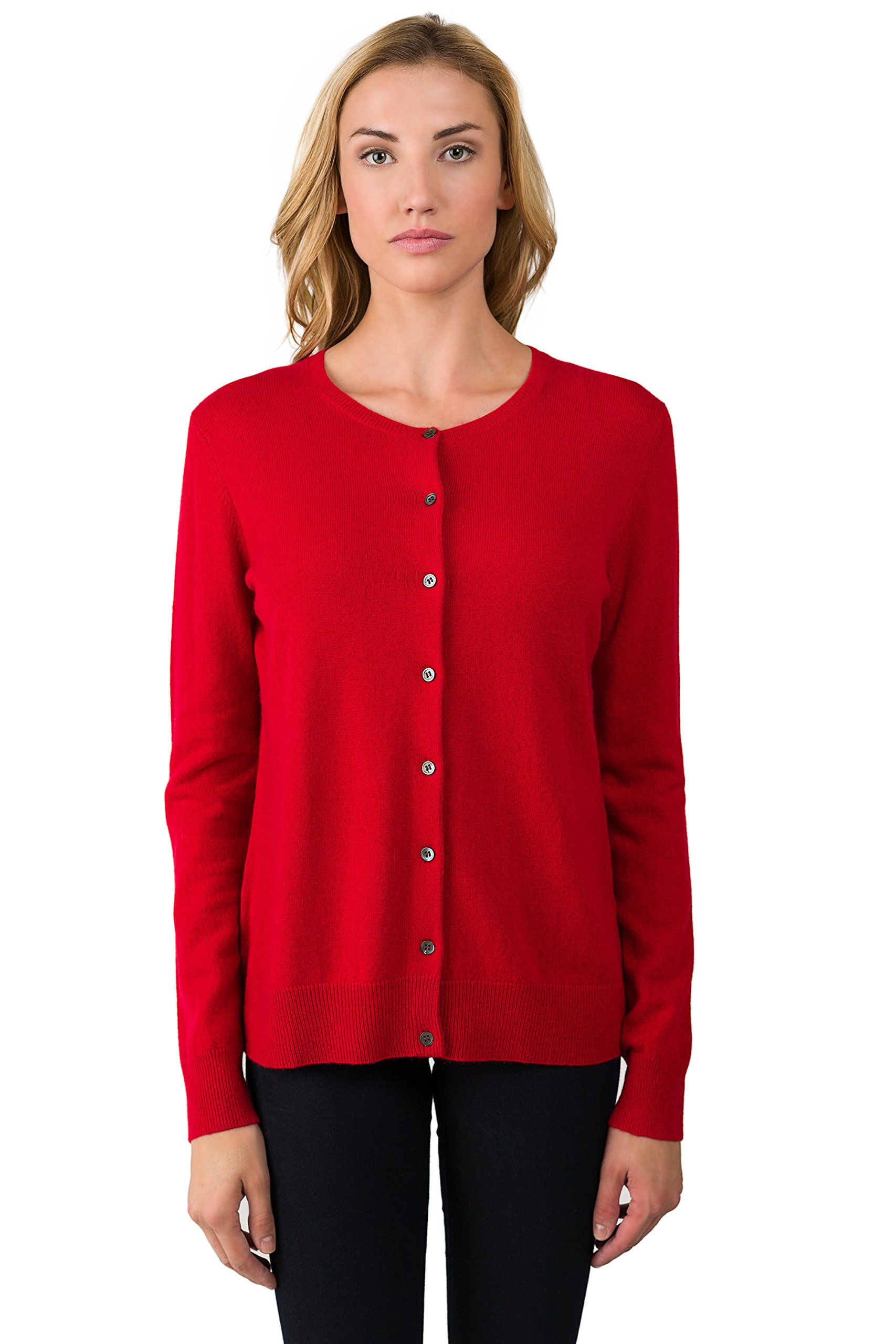 JENNIE LIU Women's 100% Cashmere Button Front Long Sleeve Crewneck Cardigan Sweater (L, RED)