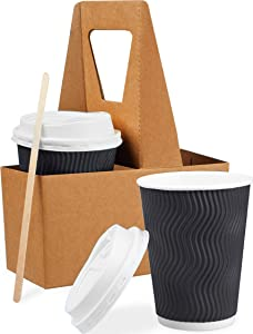 85 Set 12 oz Disposable Coffee Cups with Lids Wooden Stirrers Cup Carriers (Triple Layer) Paper Coffee Cups with Lids - Insulated Togo Coffee Cups with Lids - Recyclable Paper Cups Easy to Grasp