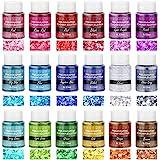 Chunky Glitter for Resin, Thrilez 18 Colors Holographic Chunky Glitter Sequins Craft Glitter Powder Tumbler Glitter for Resin