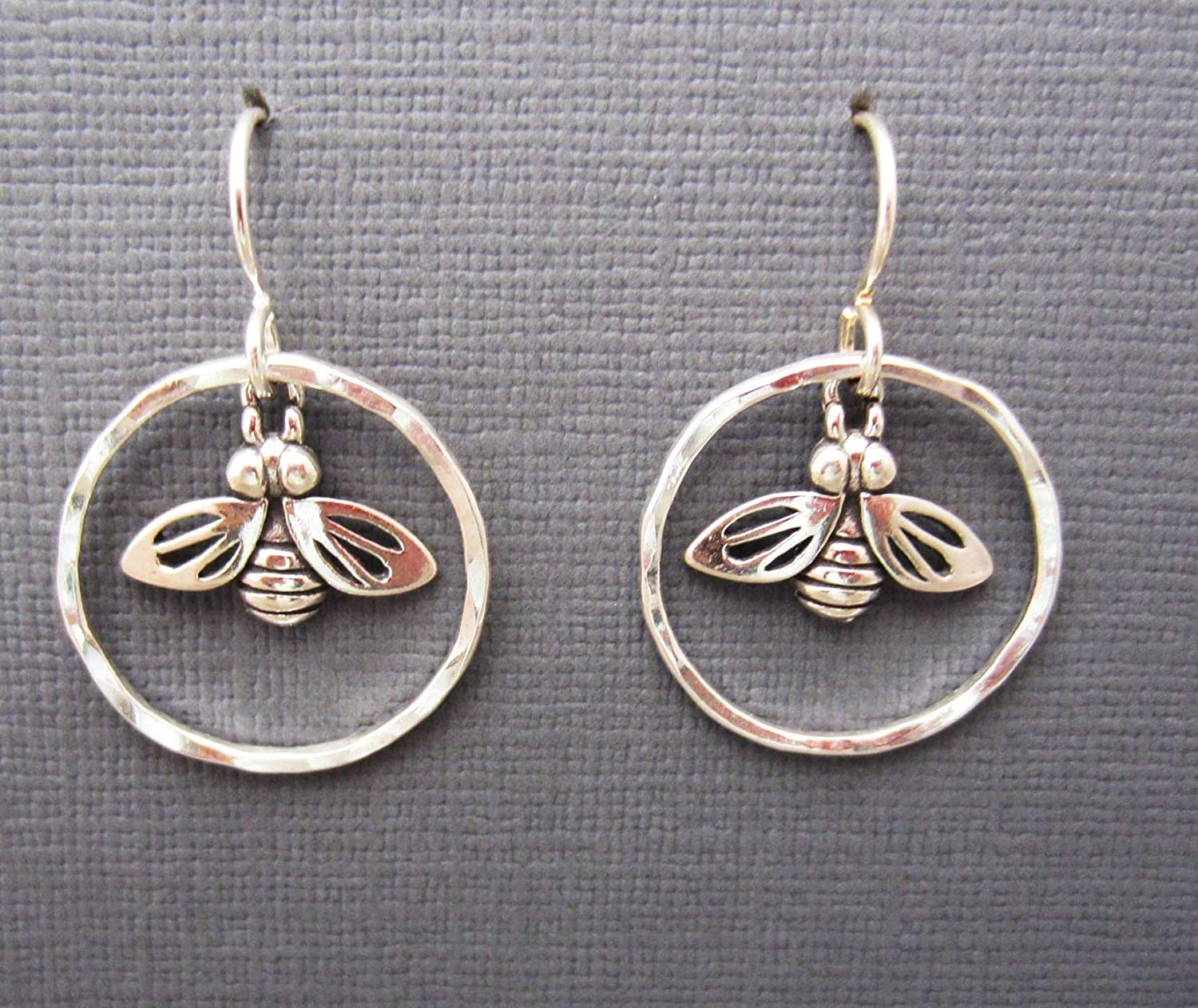 Hand fabricated Argentium Sterling hammered silver hoops .925 bee charm dangle earrings
