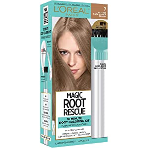 L'Oreal Paris Magic Root Rescue 10 Minute Root Hair Coloring Kit, Permanent Hair Color with Quick Precision Applicator, 100% Gray Coverage, 7 Dark Blonde, 1 kit (Packaging May Vary)