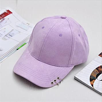 90427d2de39 Donna Pierce unisex solid Ring Safety Pin curved hats baseball cap men  women Suede snapback caps