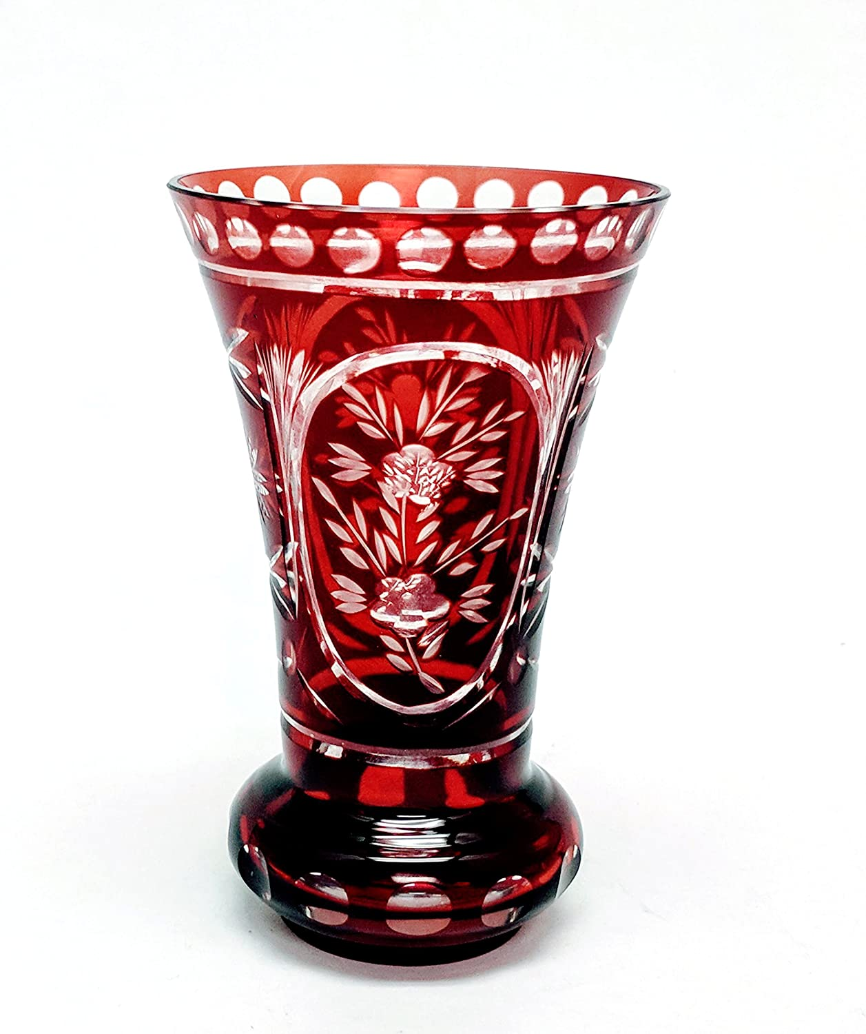 Amazon Com Home Decoration Accessories Burgundy Color Etched Glass Flared Vase Ring Shaped Base 5 75 High Home Kitchen