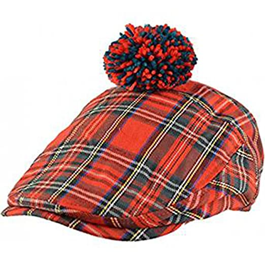 3394fb1664f Mens Official Major Wear Red Scottish Tartan Flat Cap with Pom Pom ...