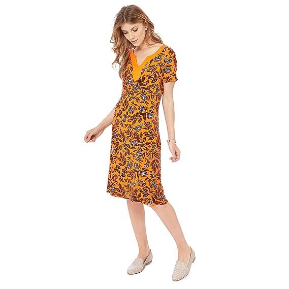 Debenhams Maine New England Womens Orange Floral Print Jersey Midi ...