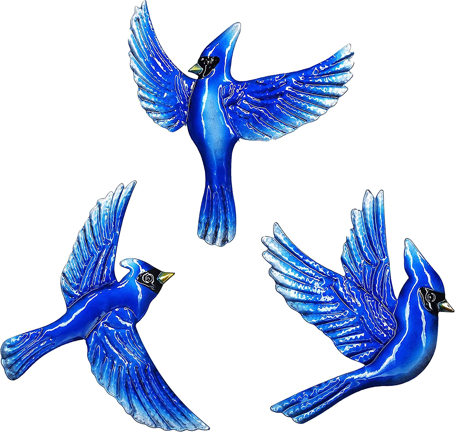 J-Fly Blue Bird Wall Decor, 9inch Large 3pack Metal Wall Decoration, Wall Sculpture For Living Room Bedroom Kitchen Bathroom Farmhouse, Christmas Ornaments Unique Memorial Gifts For Mom