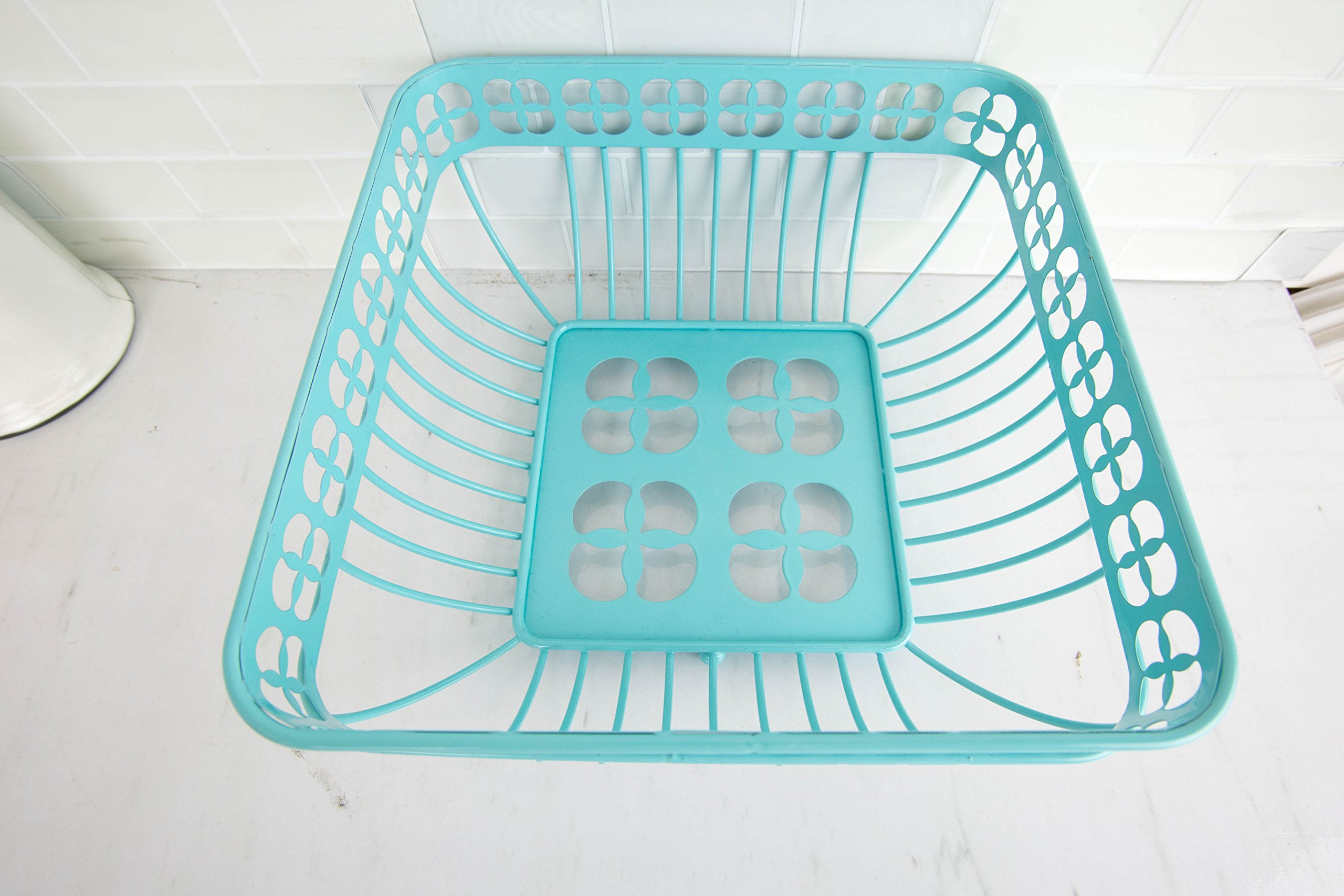 Home Basics Trinity Fruit Basket Square, Turquoise by Home Basics (Image #2)