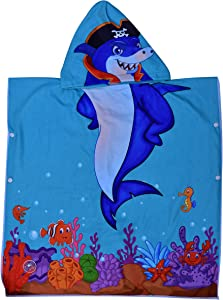 Hooded Bath Beach Towel Set– Shark Super Soft for Baby,Boys,Girls,Toddlers. Comes with a Story Book, Great for Pool Swimming Coverup, Ponchos, Robes or Capes, 1-7 Years kid