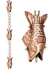 Good Directions 487P-8 Fish Rain Chain, 8-1/2', Polished Copper