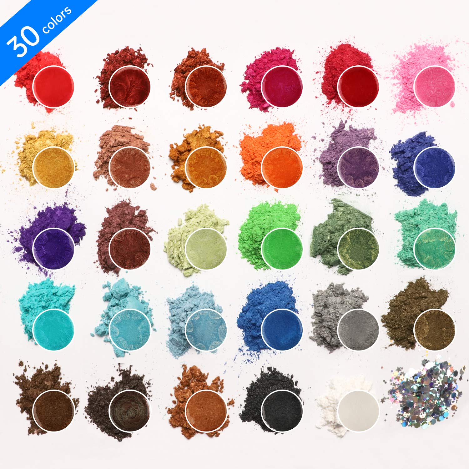 Mica Powder Epoxy Resin Dye - 29 Powdered Color Pigments + 1 Glitter (150G/5.3OZ) - for Soap Slime Bath Bombs Makeup Colorant.