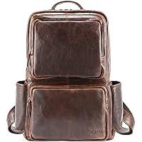 Kattee 中性款真皮背包商务旅行背包,适合 15.6 英寸笔记本电脑
