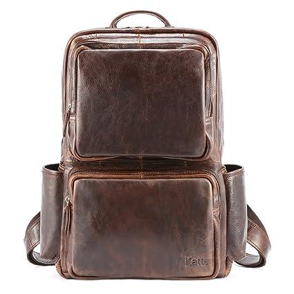 Amazon.com  Kattee Unisex Genuine Leather Backpack Business Travel ... 68bcf58e9da53