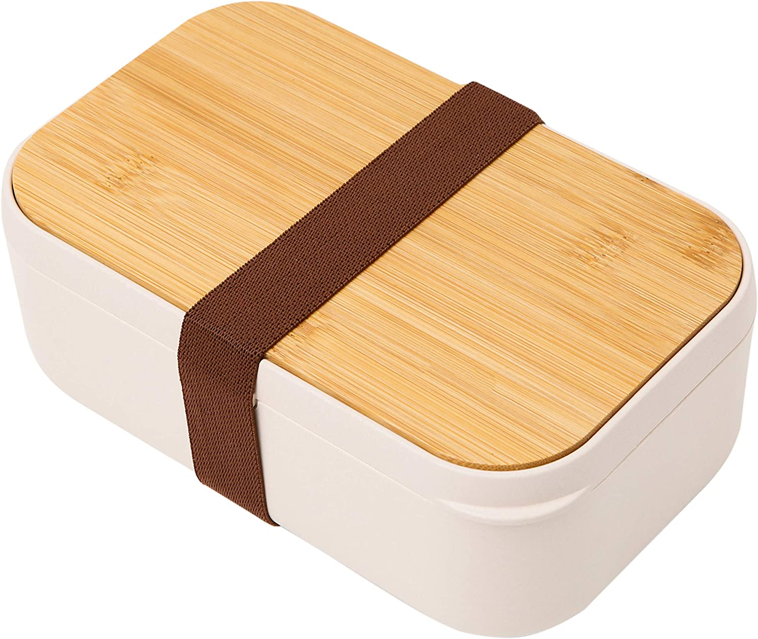 INVVNI Bamboo Bento Box For Adults Kids Japanese Bamboo Lunch Container - BPA Free - with Divider - Leak-Proof