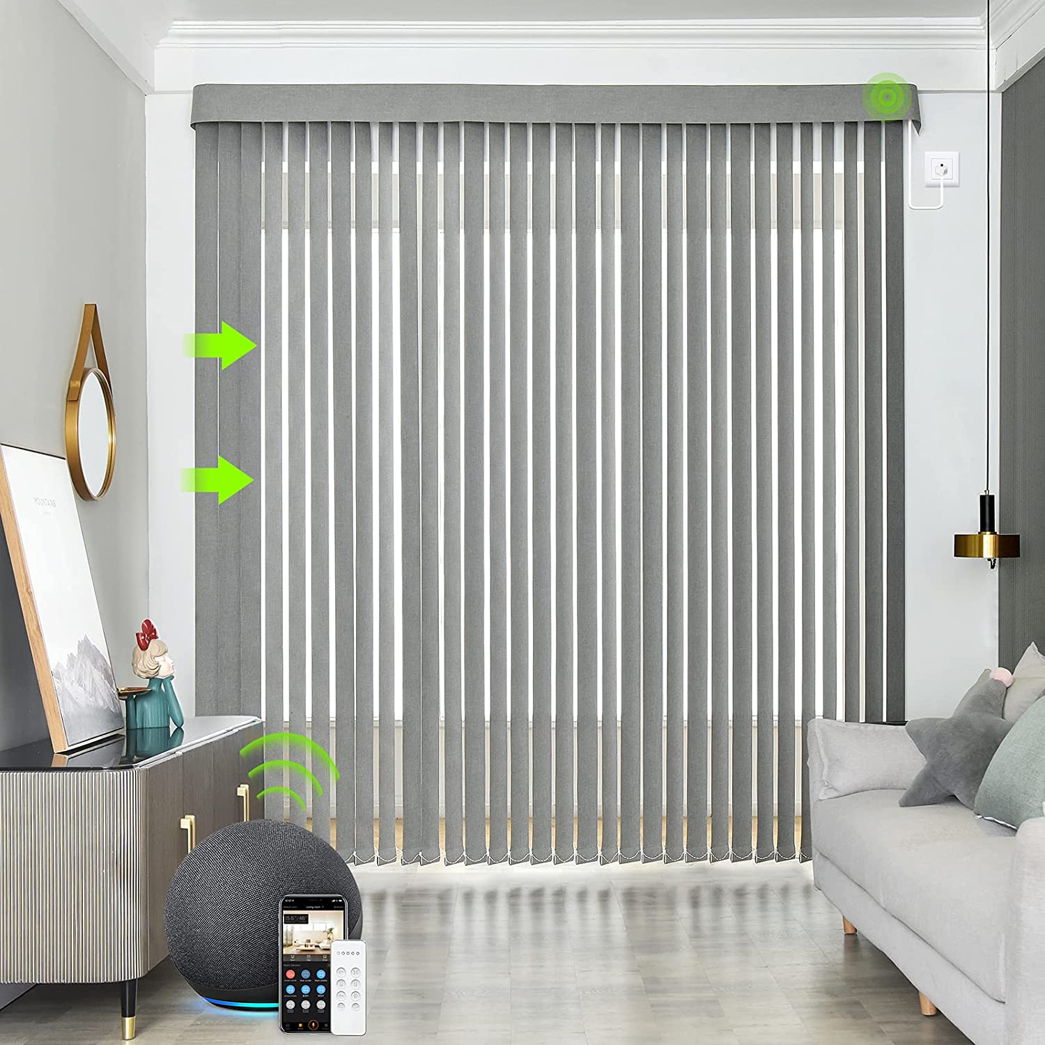 Yoolax Motorized Vertical Blinds Works with Alexa, Light Filtering Remote Control Window Blind Custom Size, Privacy Light Control Slats, Blackout Electric Blinds for Smart Home Office (Smoky Grey)