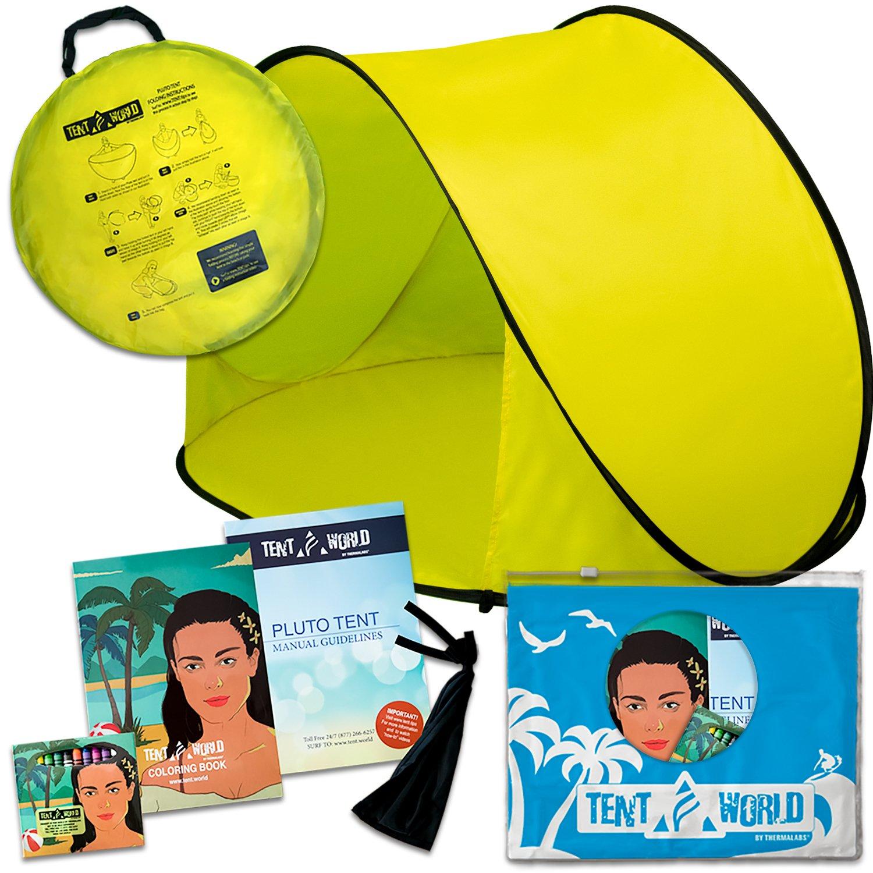 Tente de plage Pluto jaune: Un accessoire extraordinaire pour le confort de vos enfants! Une tente de luxe et légère pour les tout-petits venant avec un sac de transport. Tenez votre bébé à l'écart de la chaleur du soleil, du vent et de la pluie.