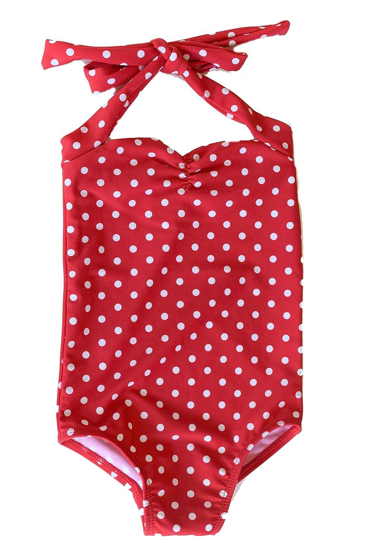 2 Red Dolly Swimwear Red /& white polka dot retro Girls one piece swimsuit