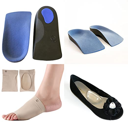 Plantar Fasciitis Arch Support Bundle. 6 Pieces - 3/4 Length Orthotics Insole Arch Support, Heel Cushion Back Pain; Soft Gel Shoe Insert Knee Pain, Sore Feet.